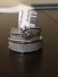Trio Wedding Ring Sets by His And Her Diamond Three Piece Wedding Ring Set 10k White Gold