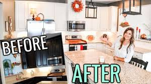 painting kitchen cabinets espresso before and after painted kitchen cabinets before and after espresso to white cabinets and fall decorating