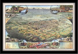 Az City Map Phoenix Az 1885 Vintage City Maps Restored City Maps