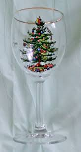 spode tree wine glass set with gold trim from