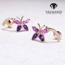 cercei din aur din aur design fluture cu safire ametiste si diamante c1174sfamdi