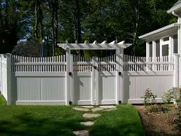 White Pvc Trellis Transitioning 6ft Privacy Fence To 4ft Privacy Fence Vinyl Arbor