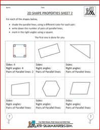2d shape properties printable geometry sheet to identify parallel