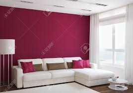 Red Livingroom by Modern Living Room Interior With White Couch Near Empty Red Wall
