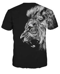 lion print newest fashion cool crown lion printed t shirt summer trendy mens