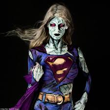 body painting halloween costumes artist brings her favourite marvel comic book heroes to life using
