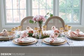 Pink Table L Table Setting With Pink And Gold Table