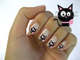 very chic mod black cat pink gift bow nail art waterslide water