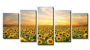 art for home decor amazon com wieco art sunflowers modern 5 panels stretched and
