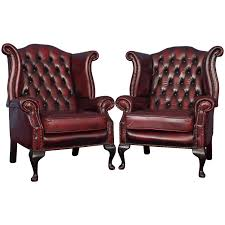 Chesterfield Armchairs For Sale English Vintage Oxblood Leather Wingback Chesterfield Armchairs