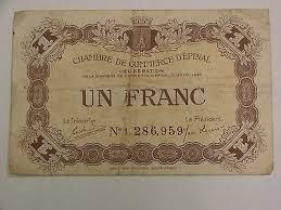 chambre du commerce epinal 1920 d epinal 1 franc chambre de commerce billet