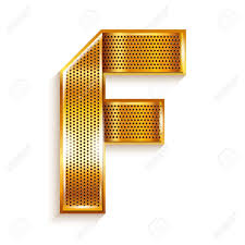 metallic gold ribbon font folded from a metallic gold perforated ribbon letter f