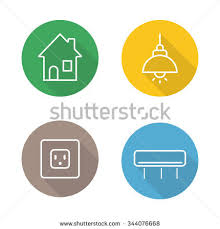 home interior linear flat icons set stock vector 344076668