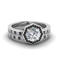 black bridal sets cut pave halo bridal set with black diamond in 950 platinum