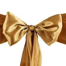Chiffon Chair Sash 5 Pcs Gold Satin Chair Sashes Tie Bows Catering Wedding Party