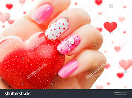 valentine nail art manicure valentines day stock photo 360550370