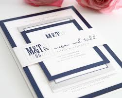 wedding invitations navy modern wedding invitations in navy blue and gray wedding invitations