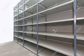 Metal Shelves For Storage Long Empty Metal Shelf In Storage Room Stock Photo Picture And