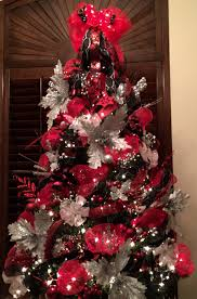 red black and silver christmas tree with mesh mesh christmas