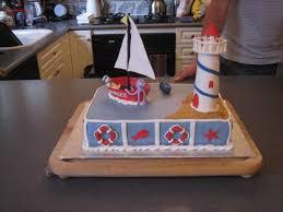 photo sailboat baby shower cake image
