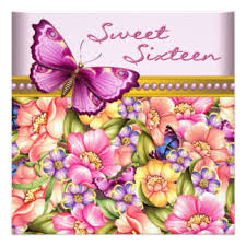 pink sweet 16 butterfly invitations u0026 announcements zazzle