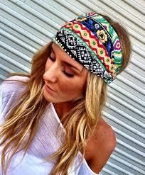 boho headband colorful aztec boho headband cotton wide turban by threebirdnest