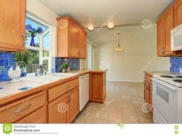 Backsplash Maple Cabinets Kitchen Interior Maple Cabinets And Back Splash Trim Stock Photo