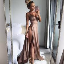 new years club dresses women satin gold dresses split floor length new year 2017 summer