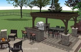 Backyard Brick Patio Design With 12 X 12 Pergola Grill Station by Creative Brick Patio Design With Pergola And Tub Download
