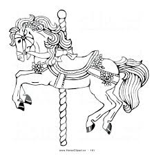 printable carousel coloring pages free print horse works