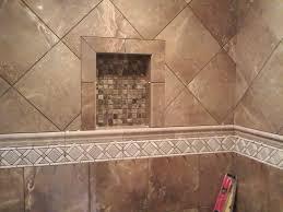 porcelain tile with travertine decorative band custom tile