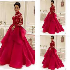 high neck red see through long sleeve lace evening dresses dubai
