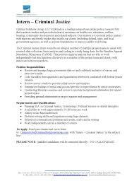 Research Internship Cover Letter by Objective Resume Criminal Justice Httpwwwresumecareerinfoobjective