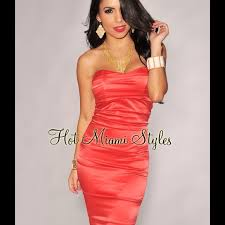 miami hot styles hot miami styles coral satin ruched strapless knee length dress