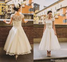 50 s style wedding dresses 50s style retro vintage wedding dresses 2016 illusion neck cap