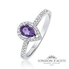 amethyst engagement rings amy amethyst 18ct white gold diamond pear halo ring diamond and