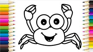 how to draw crab coloring pages ocean animals creativity for kids