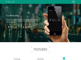 polo app landing page template with bootstrap