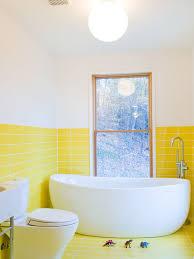 Yellow Bathtub Yellow Floor Tile Houzz