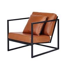 modern designer stanley armchair black metal frame leather