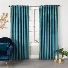 Velvet Curtain Panels Target Velvet Curtain Panel With Tassels Opalhouse Target