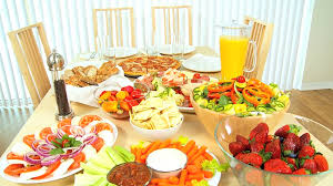 table full of food modern family dining table full of fresh tasty food for a healthy