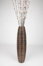 brown tall floor vase 30 inches wood brown leewadee
