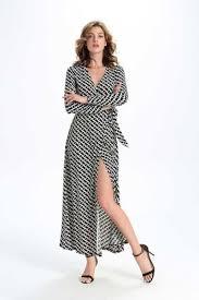 maxi kjoler black v neck printing spalteventiler lange kjoler maxi