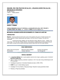 Qa Qc Resume Sample by Mechanical Qc Inspector Resume Free Resume Example And Writing
