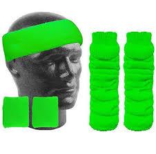 green headband neon headband sweatband wristbands leg warmers neon fancy dress