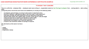 shortage work experience letters