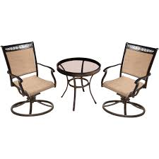 hanover fontana 3 piece aluminum outdoor bistro set with round