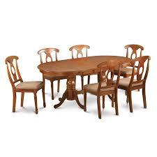 shop east west furniture plainville saddle brown 7 piece dining