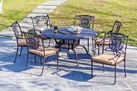Patio Furniture Cast Aluminum Outdoor Patio Furniture Cast Aluminum Dining Set Madrid 7 Pc Aged